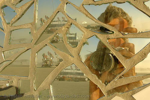 self portrait in mirror mosaic - burning-man 2006, art installation, burning man, mirror mosaic, mirrors, reflection, self portrait, selfie, tristan savatier