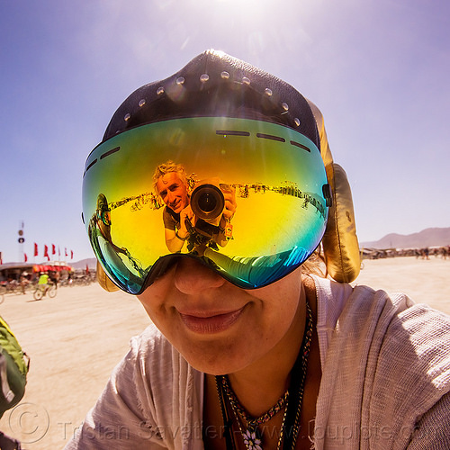 selfie in mirror visor - burning man 2015, man, mirror, reflection, self-portrait, selfie, visor, woman