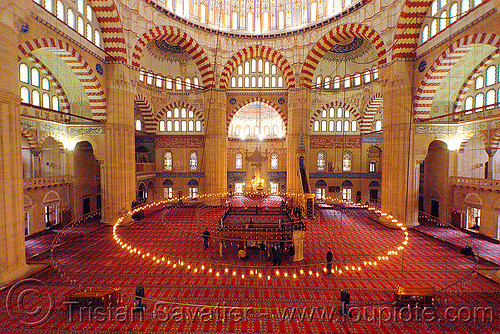 selimiye mosque interior (edirne, turkey), architecture, circle, edirne, inside, interior, islam, religion, selimiye mosque