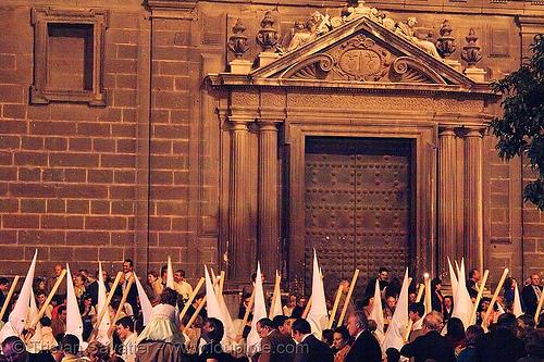 semana santa en sevilla, andalucía, candles, capirotes, cofradía, easter, nazarenos, night, parade, people, procesión, procession, religion