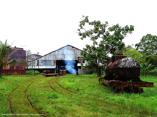 smoke - semi-abandoned train yard in puerto limon (costa rica), abandoned, atlantic railway, costa rica, decay, puerto limon, rusted, rusty, tankcar, train depot, train yard, trespassing, urban exploration