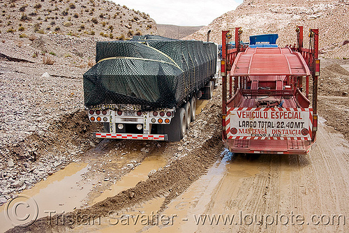 semi truck stuck in mud slide, argentina, artic, articulated lorry, landslide, mudslide, noroeste argentino, passing, road, semi trucks, vehiculo especial