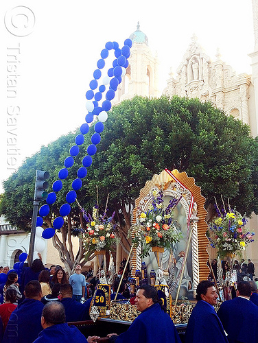 señor de los milagros procession in front of mission dolores church (san francisco), balloon string, blue balloons, church, crowd, float, lord of miracles, mission dolores, mission san francisco de asís, parade, paso de cristo, peruvians, sacred art, señor de los milagros
