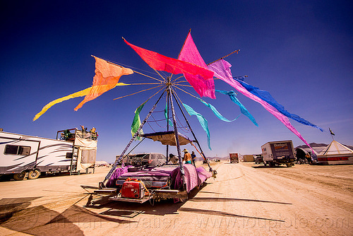 sensatron art car - burning man 2015, burning man, flags, rainbow colors, sensatron art car