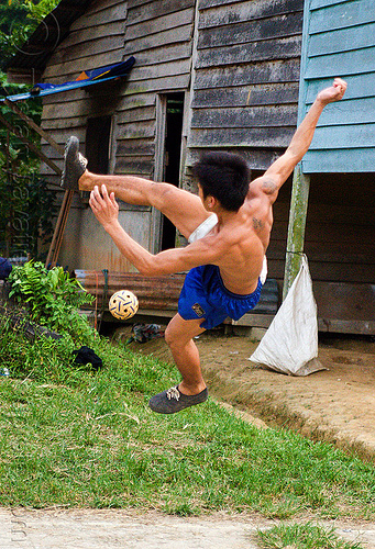 sepak takraw player, ball game, borneo, gunung mulu national park, kick volleyball, malaysia, man, panan, penan people, player, playing, rattan ball, sepak raga, sepak takraw, sport