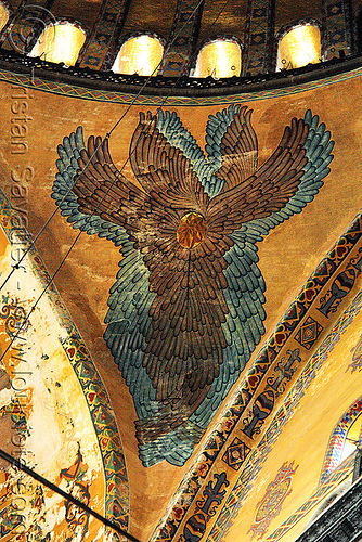 seraphim angel painting - aya sofya (istanbul), architecture, aya sofya, byzantine, church, feathers, fesco, hagia sophia, inside, interior, islam, mosque, orthodox christian, painting, pendentive, religion, seraph, seraphim angel, wings