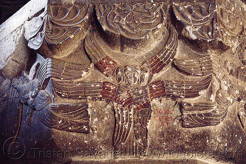 seraphim angels low-relief carving - oshki monastery (turkey), angels, byzantine, georgian church ruins, low-relief, orthodox christian, oshki monastery, seraph, seraphim angel, öşk, öşkvank