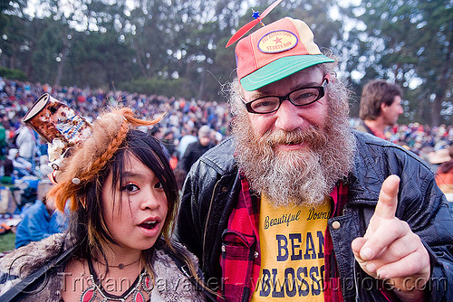 serena and a man with a propeller cap, beard, bluegrass, golden gate park, hardly, hat, man, propeller cap, serena, strictly, woman