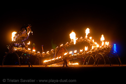 serpent mother - giant snake skeleton fire sculpture - burning-man 2006, art, burning man, fire, flames, flaming lotus girls, giant, night, sculpture, serpent mother, skeleton, snake