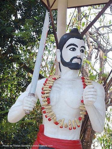 องค์คุลีมาร - severed fingers - thailand, necklace, sangklaburi, statue, sword, temple, warrior, wat, ประเทศไทย, สังขละบุรี, องค์คุลีมาร