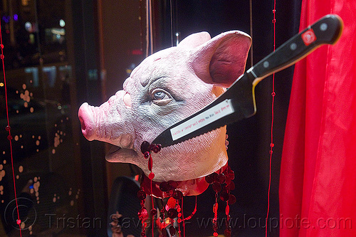 severed pig head - halloween shop window display, butcher knife, cliff's variety, fake blood, halloween, hardware store, latex mask, pig head, pig mask, severed head, shop window display