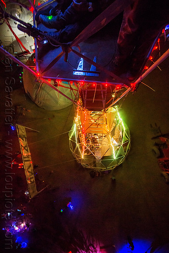 sextant tower crow nest at night - burning man 2015, burning man, glowing, night, sextant camp, sextant tower, vertical