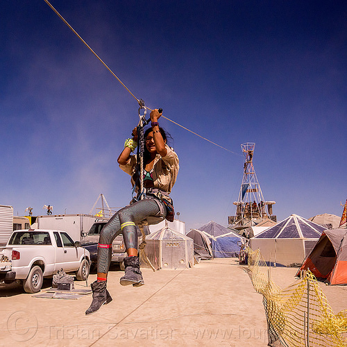 sextant tower zip-line - burning man 2015, burning man, cable, sextant tower, woman, zip-line