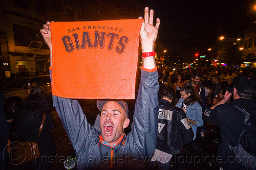 SF giants fans celebrating, 2012 world series, baseball fans, celebrating, crowd, editorial, go giants, man, night, partying, sf giants, sports fans, street party