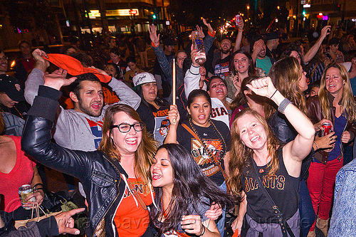 SF giants fans celebrating, 2012 world series, baseball fans, celebration, crowd, editorial, go giants, night, party, partying, people, sports fans, street party