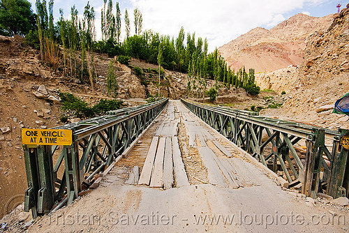 shaky bridge - basko - ladakh (india), basko, ladakh, road, single-lane bridge