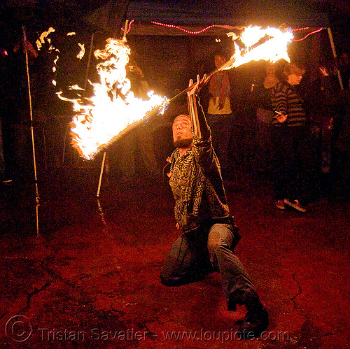 shanti (alex) spinning fire staff - jelly's (san francisco), fire dancer, fire dancing, fire performer, fire spinning, fire staff, night, shanti alex, spinning fire