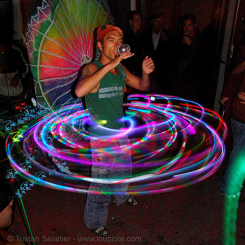 shanti (alex) spinning a LED hulahoop (san francisco), ball, dancing, glowing, hula hoop, led hoop, led lights, light hoop, night, shanti alex, spinning light