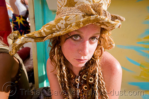 sharon rose - burning man 2008, burning man, center camp, hat, sharon rose, woman
