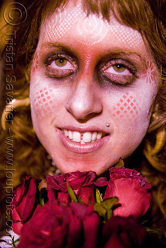 sharon rose - white airbrush stencil face paint - red roses - girl - dia de los muertos - halloween (san francisco), day of the dead, face painting, facepaint, makeup, night, people, woman