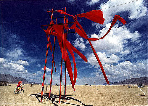 sharon's rising by michael taluc - burning-man - trucrouge, 1998, art installation, burning man, sharon's rising, streamers