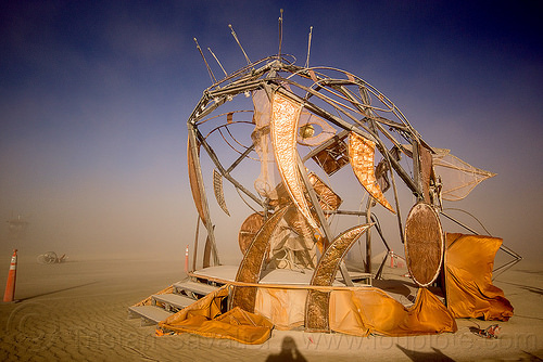 shiny fish monster sculpture - axayacoatl - burning man 2015, art, art installation, brass, copper, deep sea fish, golden, metal, mouth, orange, quetzacoatl, teeth