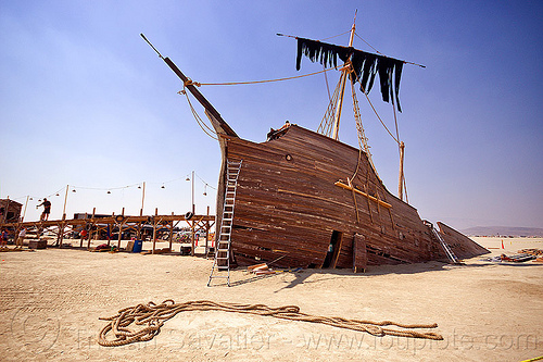 shipwreck and pier - burning man 2012, art installation, burning man, gallion, la llorona, pier 2, rope, ship, shipwreck