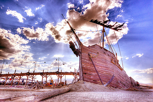 the shipwreck (HDR) - burning man 2012, art installation, burning man, gallion, la llorona, shipwreck