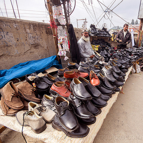shoe seller in street market (india), darjeeling, india, men, merchant, shoes, shop, stall, street market, street seller, vendor
