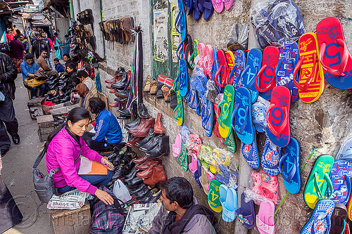 shoe sellers stalls in street market - darjeeling (india), people, shoes, vendors