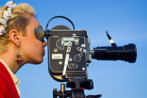 shooting a movie with a bolex 16mm film camera, 16mm camera, blonde, bolex, camera operator, dolores park, film camera, film making, hannah, motion picture camera, movie camera, woman