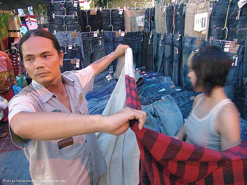 shopping for jeans in bangkok - thailand, bangkok, blue jeans, clothing, knock-offs, shopping, thailand, woman, บางกอก