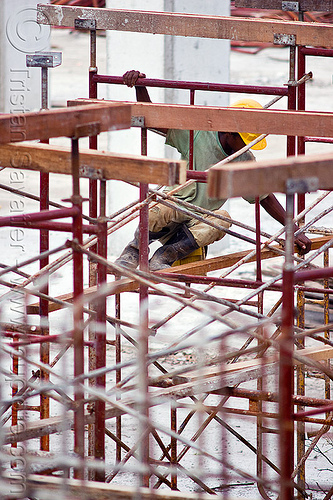 shoring scaffolding - construction site in miri (borneo), borneo, building construction, construction site, construction workers, lumber, malaysia, man, miri, safety helmet, shoring, timber