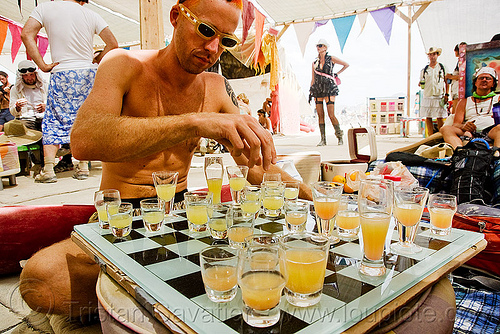 shots chess - drinking chess - burning man 2009, board game, center camp, chess game, pajama pro, people, shot glasses