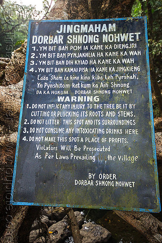 sign on living root bridge - mawlynnong (india), east khasi hills, footbridge, jingmaham, living root bridge, mawlynnong, meghalaya, sign, wahthyllong