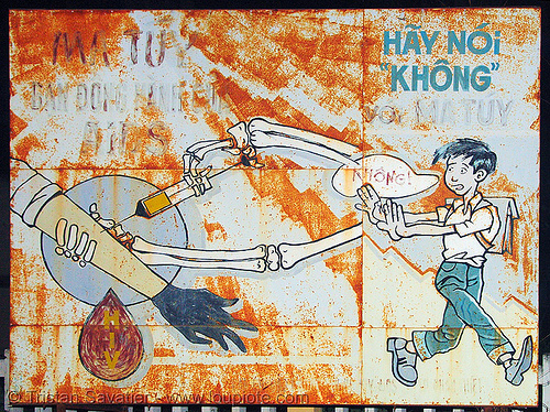 sign - say NO to drugs! - vietnam, aids, blood, death, drug, injection, intravenous, school boy, syringe.