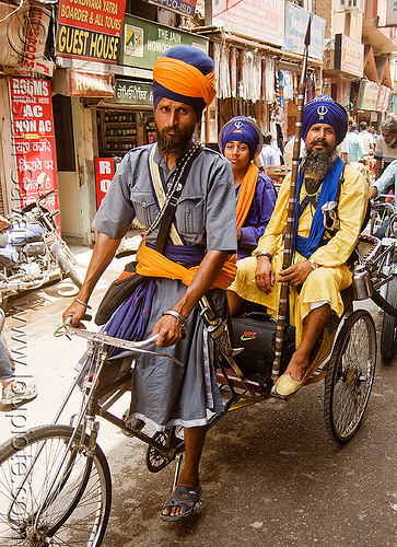 sikh devotees on cycle rickshaw - amritsar (india), amritsar, cycle rickshaw, india, men, nihang warriors, punjab, sikh, sikhism, spear, trike, wallah