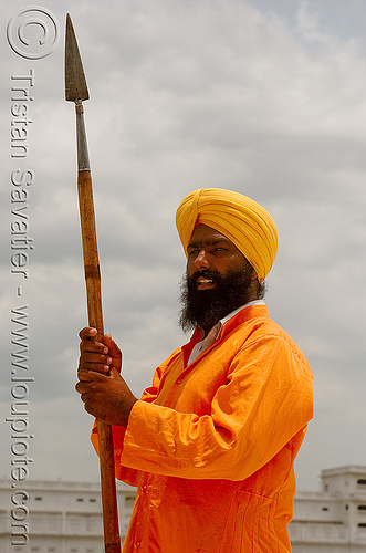 sikh guard with spear at the golden temple - amritsar (india), amritsar, golden temple, guard, guardian, gurdwara, india, man, punjab, sikh, sikhism, spear
