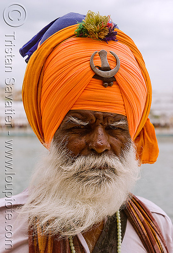 sikh - nihang singh at the golden temple - amritsar (india), beard, guardian, gurdwara, man, old, old man, people, punjab, sikhism, soldier, warrior, white beard