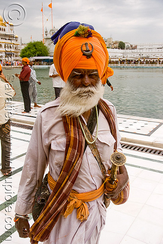 sikh warrior - nihang singh at the golden temple - amritsar (india), amritsar, golden temple, guardian, gurdwara, nihang singh, old man, punjab, sikh, sikhism, soldier, warrior, white beard