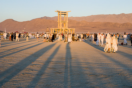 the silent white procession - temple of forgiveness - burning man 2007, burning man, dawn, shadows, silent white procession, sun rise, temple of forgiveness, white morning
