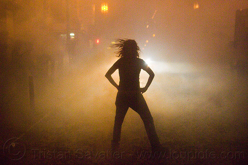silhouette in the fog, backlight, chinatown bang, chinese new year, firecrackers, lunar new year, night, pyrotechnics, silhouette, smoke, street, woman