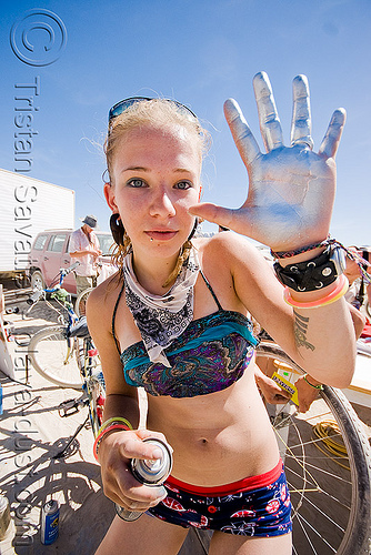 silver girl lana - burning man 2008, burning man, hand palm, lana, silver paint, spray paint, woman