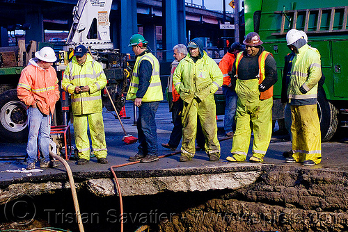 sinkhole - utility workers fixing broken water main (san francisco), construction workers, hetch hetchy water system, high-visibility vest, infrastructure, night, reflective vest, repairing, safety helmet, safety vest, sfpuc, sink hole, utility crew, utility trucks, utility workers, water department, water main, water pipe