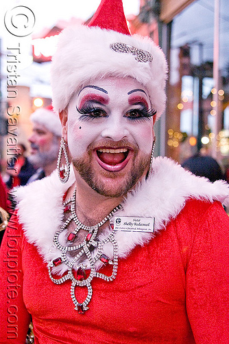 sister shelby redeemed - sisters of perpetual indulgence (san francisco), beard, christmas, costumes, makeup, man, nun, santa claus, santacon, santarchy, santas, shelby redeemed, sisters of perpetual indulgence