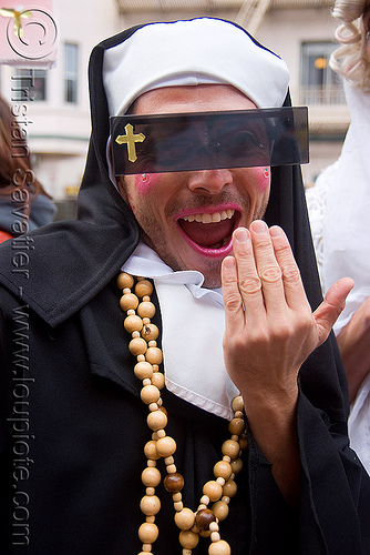 sisters of perpetual indulgence - brides of march (san francisco), brides of march, christian cross, festival, makeup, man, necklace, nuns, sisters of perpetual indulgence, sunglasses, wedding, white