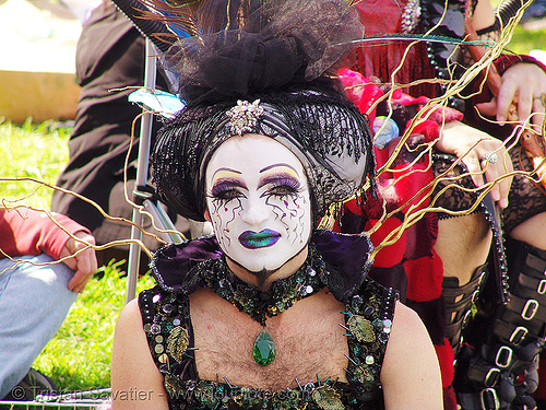 the sisters of perpetual indulgence - easter sunday in dolores park, san francisco, dolores park, drag, easter, hunky jesus contest, makeup, man, nuns, sister flora goodthyme, sisters of perpetual indulgence, white