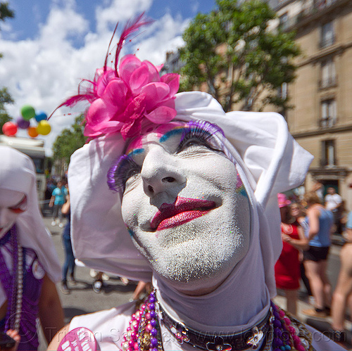 sisters of perpetual indulgence from the paris convent, drag, flower headdress, gay pride, makeup, man, nun, paris, sisters of perpetual smilingindulgence