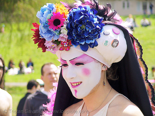 the sisters of perpetual indulgence - nun - easter sunday in dolores park, san francisco, dolores park, drag, easter, hunky jesus contest, makeup, man, nun, sister viva l'amour, sisters of perpetual indulgence, white