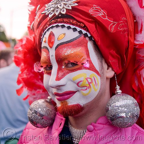 the sisters of perpetual indulgence - nun - easter sunday in san francisco, drag, earrings, easter, makeup, man, nun, red, sister junipa, sisters of perpetual indulgence